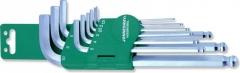 Jonnesway imbuszkulcs készlet, gömbvégű, 9db klt. hosszú 1,5-10mm