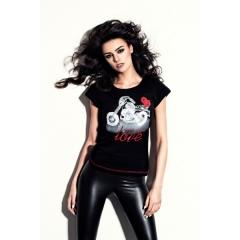 CHOPPERS DIVISION rövid ujjú fekete női póló, Motorcycle Love