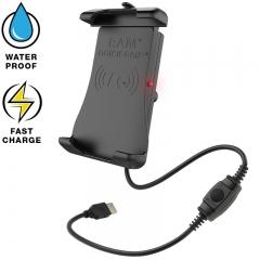 Ram Mount Tough-Charge X-Grip technológiás telefontartó, vízálló vezeték nélküli töltővel