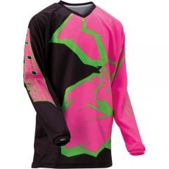 MooseRacing Agroid Qualifier gyerek cross póló fekete-pink-zöld